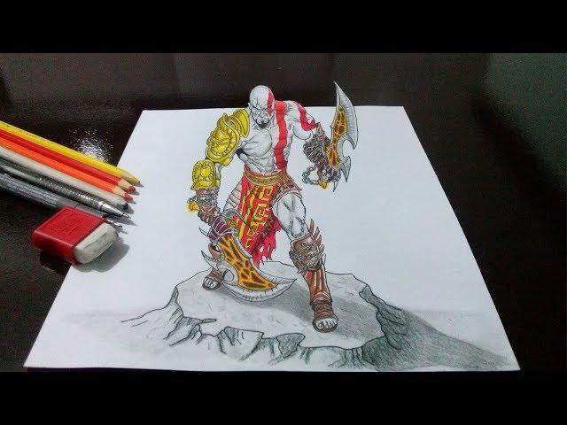 Desenhando o Kratos - God of War - em 3D - Drawing Kratos God of War in 3D