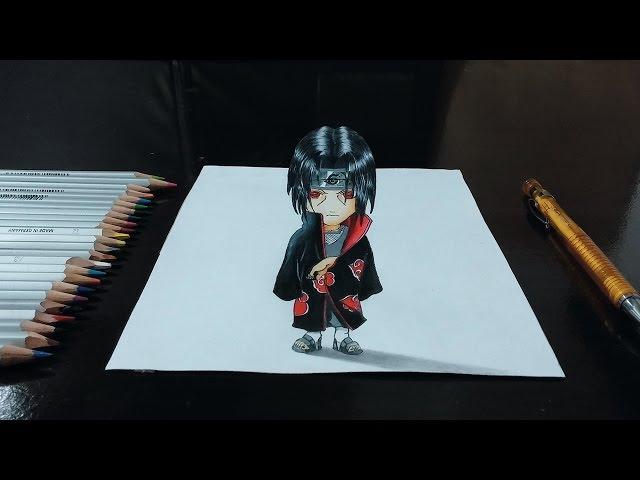 Desenhando Itachi Uchiha Chibi (Naruto Shippuden) em 3D - Top Rabiscos #2