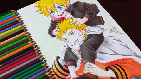 Desenhando Naruto e Boruto - Drawing Naruto and Boruto